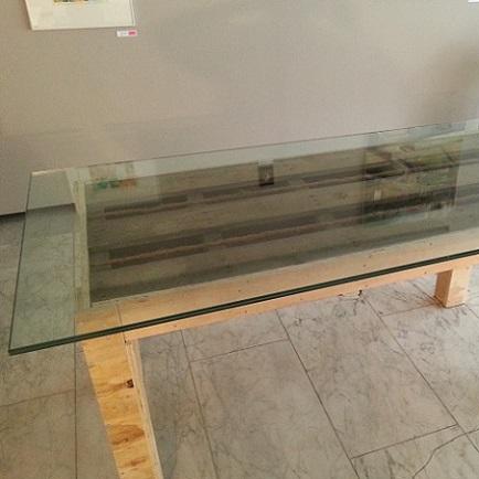 Glasplaat Op Tafelblad.Perron Nul Tafel Van Pallet Osb Glasplaat Van Het